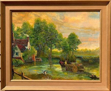 Vintage Oil painting on canvas, Rural Landscape, signed, Dated