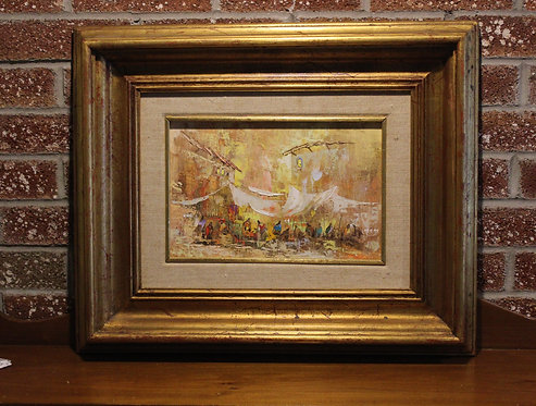 Original Vintage  oil painting on canvas cityscape, signed, framed