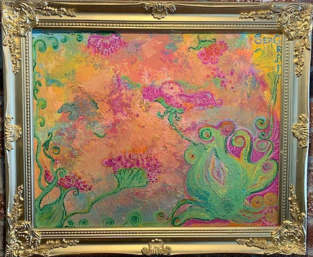 """Original Abstract Painting on Canvas """"Exotic"""" Signed Serg Graff, COA, framed"""