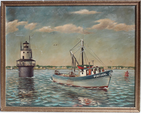 Vintage oil painting on canvas, seascape, boat, light house, Signed Oliveira