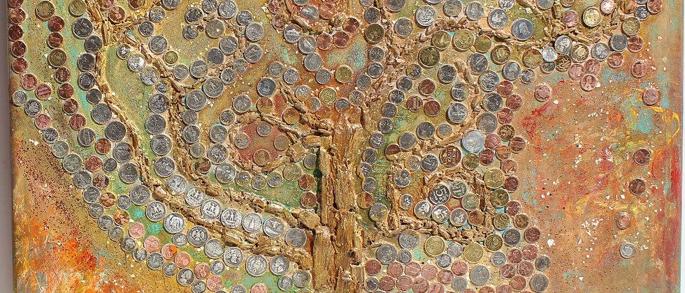 "Large Original Abstract Painting on Canvas, ""Money Tree"" Signed Serg Graff, COA"