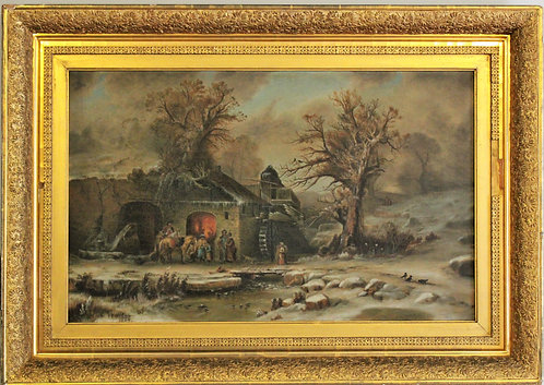"""Original Antique Oil Painting On Canvas C.Willson, 1884 """"At The Mill"""". Dated"""