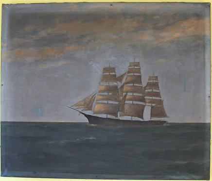 Antique oil painting on canvas, seascape,Sailing ships on the ocean