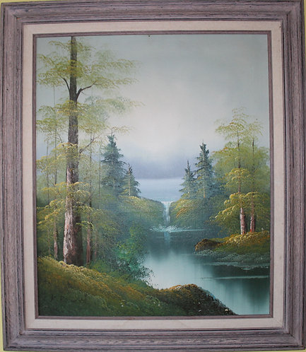 Original Framed Oil Painting on canvas Landscape, Waterfall,  Signed by K.Robert