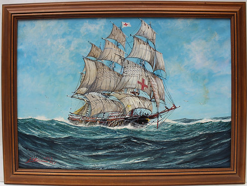 1966 Large Vintage Oil painting on canvas, seascape, Sailing Ship, Signed