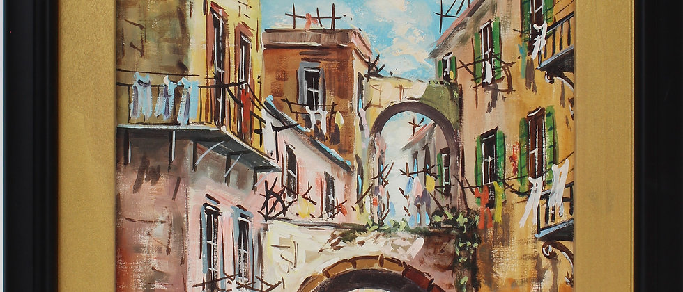 Original vintage oil painting on canvas, Paris, France, signed framed