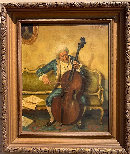 Antique Original Oil Painting on Canvas, Man Playing Cello, signed, framed