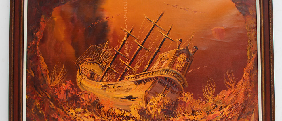 Large oil painting on canvas, seascape, sunken ship at the bottom of the ocean