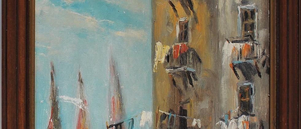 Vintage oil painting on board, Italian cityscape, street scene, Signed, Framed