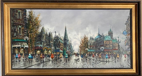 Huge Vintage original Oil Painting On Canvas, Paris view, Signed, Framed