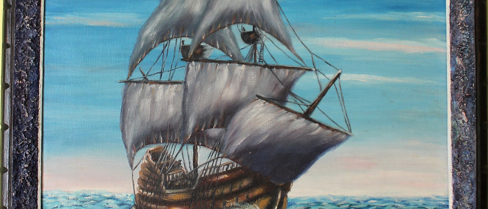 Oil painting on canvas, seascape, Sailing ship, Signed, Unique Blue Frame, Dated