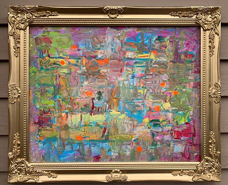 "Original Abstract Painting on Canvas ""Fantasy"" Signed Serg Graff, COA, framed"