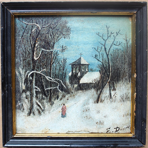 Antique small oil painting on wood, winter landscape, church, signed, framed