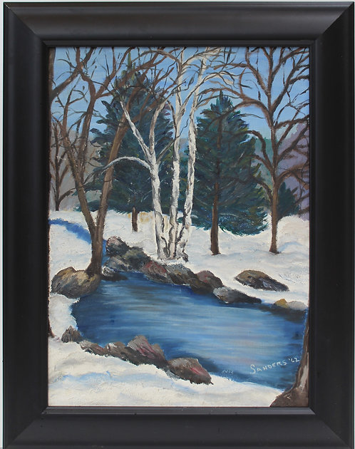 Original Framed Oil Painting on Canvas panel Landscape, Winter,1962,Signed