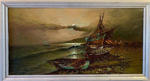 Huge oil painting on canvas, Boats, harbor, seascape, signed, framed