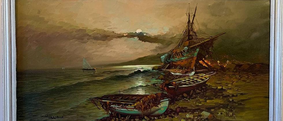 Huge oil painting on canvas, Boats, harbor, seascape, signed, framed