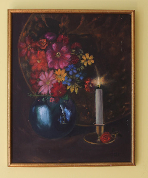 Vintage Original Oil Painting on Canvas Still Life Flowers, candle Framed,Signed