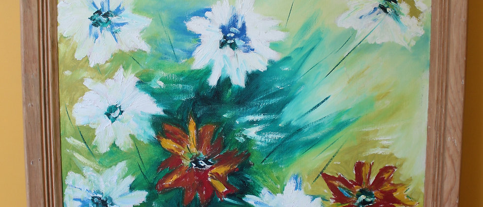 ORIGINAL STILL LIFE OIL PAINTING ON CANVAS, FLOWERS J. Dimouro