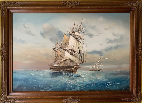 Large oil painting on canvas, seascape, Sailing ships on the ocean, Signed Baill