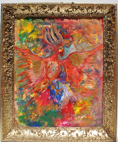 Oil Painting on Canvas, Fantasy Abstract Style, Signed S.Graff,COA, Gilt Frame