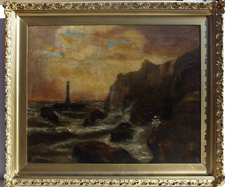 Antique signed and dated 1900 oil painting on canvas, lighthouse, seascape