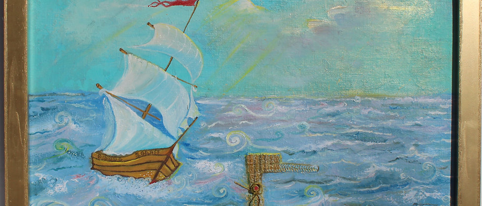 Original painting on antique canvas, seascape, sailboat, signed S.Graff, COA
