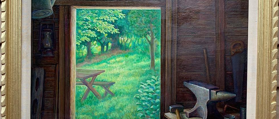 HARVEY K. FULLER (AMERICAN, 1918 - 2017) Oil on masonite, Landscape, framed
