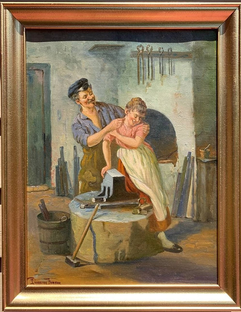 Danish Antique oil painting on canvas, Blacksmith Couple, Signed, Framed