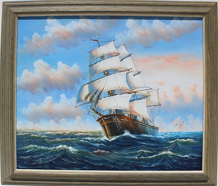 Oil painting on canvas, seascape,Sailing Ship in the High Sea, unsigned , Framed