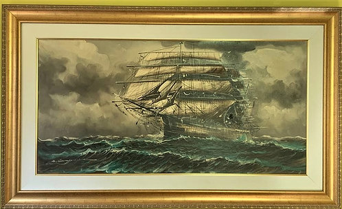 Listed Italian Artist Renato Longanesi Huge oil painting on canvas, Clipper ship