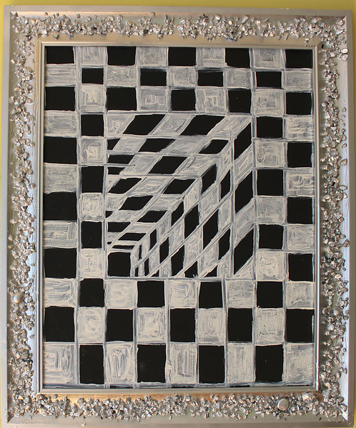 Abstract Oil Painting on Canvas, black and white, optical illusion, Unsigned