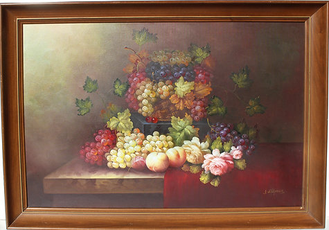 Oil Painting on Canvas Still Life Fruit, framed, signed
