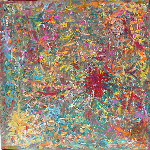 Large Original Abstract Painting on Canvas, Signed Serg Graff, COA