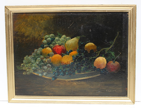 Antique 19 c. Original Oil Painting on wood panel, Still Life, Fruits, Signed