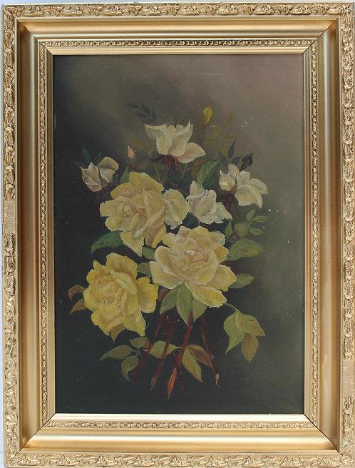 Antique 19 c. Original Oil Painting on wood panel, Still Life, Yellow Roses