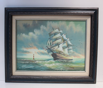 Original oil painting on canvas, seascape, Sailing ship on the high seas,Signed