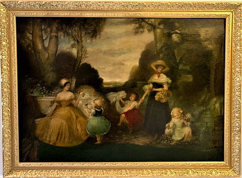 Large Antique 18-19 centuries Oil Painting on Canvas, Women & children playing