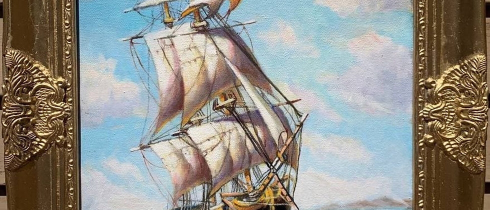 Oil painting on canvas, Russian Artist Dobritsin, Seascape, Sailing ship, Dated