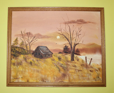 Vintage  Original Oil Painting on canvas Landscape, Signed J.Newbold,dated