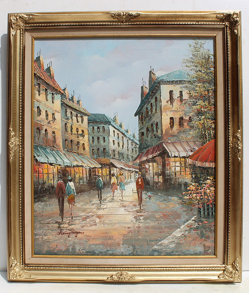 French Artist Henry Rogers oil painting on canvas, Paris Street Scene, signed
