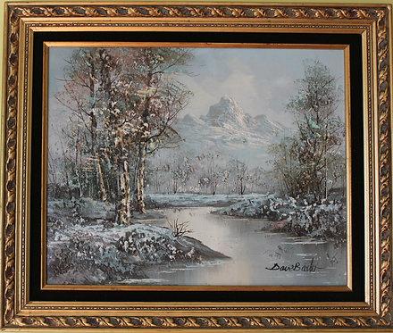 Original Framed Oil Painting on board Landscape, Winter,  Signed