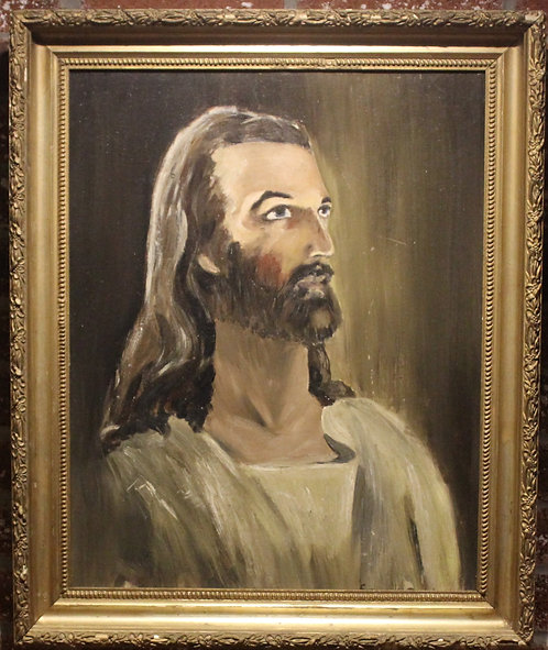 Vintage Original Framed Oil Painting on canvas panel-Jesus.Signed Francois Petit