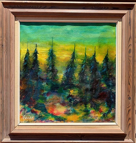 1968 Vintage Danish Oil painting on canvas, Forest Landscape, signed, Dated