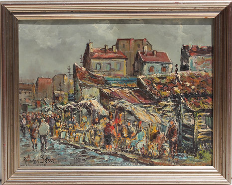 Listed French Artist A.Raymond Besse 1899-1969 oil painting, Paris street view
