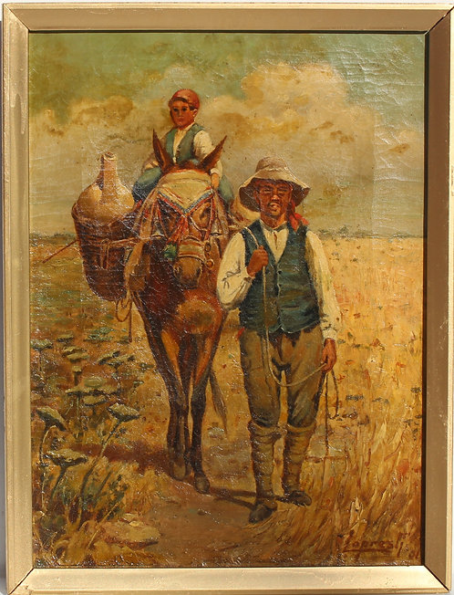 Spanish Antique 1901 Oil Painting on Canvas, Figures, Signed, Framed, Dated
