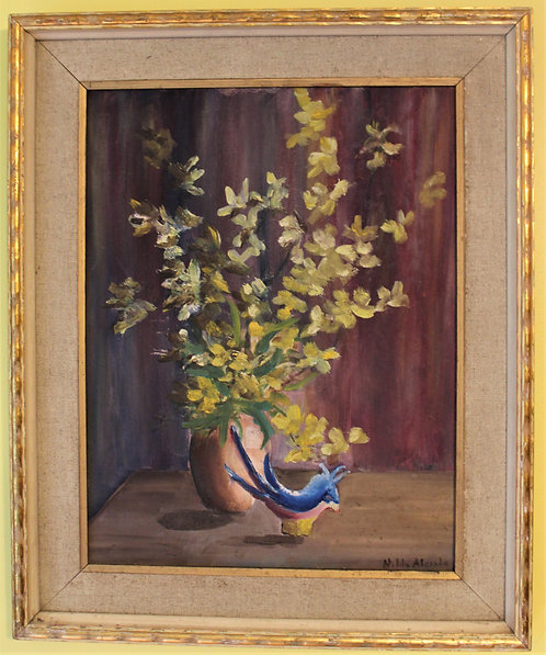 ORIGINAL VINTAGE  OIL PAINTING ON canvas panel, FLOWERS, BIRD, SIGNED