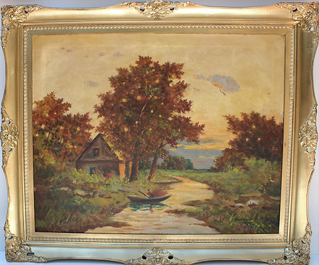Original Antique  oil painting on canvas landscape, signed Califano, gold frame