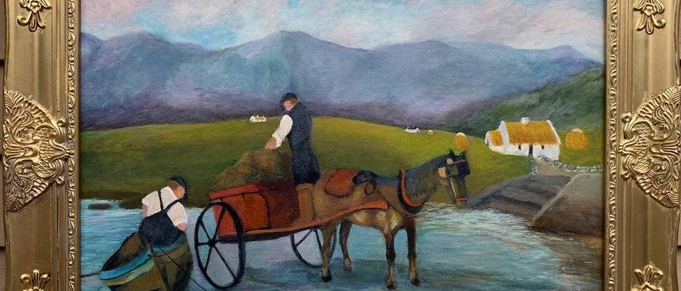 Original vintage painting on canvas panel, Genre scene, Framed, Signed, Dated