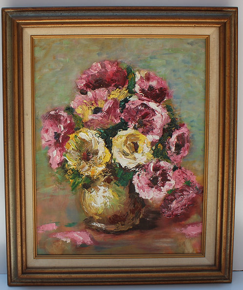 Vintage Oil Painting On Canvas, Still life, flowers, unsigned, framed