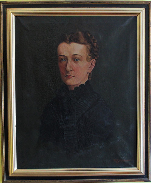 Antique 19 century Oil Painting on canvas, Female portrait, Signed, Framed